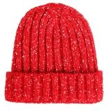 优唯美 秋冬季情侣韩版户外骑行针织保暖帽子女士 红色均码MSP-604
