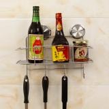 护家 厨房卫生间吸盘挂件 强力吸盘不锈钢置物篮 置物架免钻孔