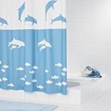 瑞德 RIDDER 浴?#20493;?#24863;海豚系列 防水防霉/环保EVA材质浴帘180*200cm 蓝色 32333