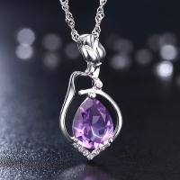 类似爱情 S925银镶嵌玫瑰花紫晶女项链 时尚款