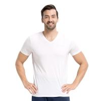 小护士 男士背心 男士T恤打底衫莫代尔短袖V领打底衫SSD1501弹力修身 经典百搭 儒雅白 XXXL(185/115)