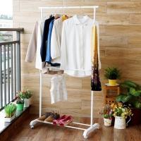 欧润哲 晾衣架 伸缩多功能可移落地扩展版挂衣架 白色