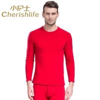 小护士羊毛竹炭保暖内衣男套装 男女加绒加厚保暖套装ZTT001中国红175XL