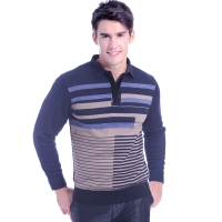 浪莎保暖內衣 男士T恤領時尚商務休閑保暖上衣加厚加絨保暖衣藍色 170/L