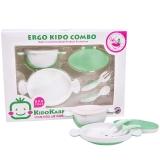 小介嘟(KIDOKARE)儿童餐具套装幼儿碗碟勺叉大礼包 粉绿色 KK-11