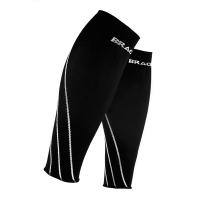 奔酷Bracoo 跑步护腿 压缩护小腿护套男女运动护具护腿套夏季马拉松篮球骑行健身滑雪 2只装 白边L码