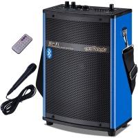 双诺 声美HJ-202 6.5英英寸低音便携式插卡音箱 户外广场舞晨练背带音响 大功率扩音器 蓝色