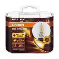 欧司朗(OSRAM)雾行者 HB3 黄光 汽车灯泡大灯灯泡近光灯远光灯卤素灯雾灯【增亮60%,色温2600K】12V60W