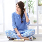 派邦奴(PBENO)睡衣女春纯棉七分袖2017新款全棉中袖休闲套装 1612021 中蓝 M