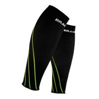 奔酷Bracoo 跑步护腿 压缩护小腿护套男女运动护具护腿套夏季马拉松篮球骑行健身滑雪 2只装 黄边XL码