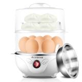 志高(CHIGO)煮蛋器雙層家用蒸蛋器防干燒可煮14個蛋配蒸碗ZDQ210 白色