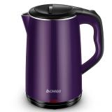 志高(CHIGO)电热水壶 304不锈钢 双层防烫烧水壶 ZD18A-708G8 1.8L电水壶 紫色