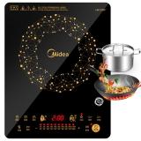 美的(Midea)電磁爐 智能勻火 十檔火力 大線圈盤  C21-WT2118(贈歐式湯鍋+精鐵炒鍋)