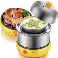 小熊(Bear)煮蛋器 双层蒸蛋器全不锈钢煎蛋器多功能早餐机旋钮控制家用自动断电 ZDQ-2191