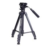 云騰(YUNTENG) VT-6008 精品專業三腳架云臺套裝 微單數碼單反相機攝像機旅行用 優質鋁合金便攜三角架黑色