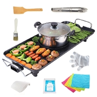 克來比(KLEBY)電燒烤爐 家用無煙電烤爐韓式電烤盤 電火鍋多功能烤涮一體鍋 中號 KLB9014