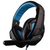 欧凡(OVANN)X2 头戴式专业游戏电脑耳机耳麦 语音带麦克风话筒双插头 黑蓝色