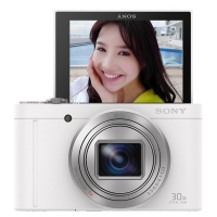 索尼(SONY) DSC-WX500 数码相机 白色(1820万有效像素3英寸180度可翻转屏 30倍光学变焦 Wi-Fi分享上传)