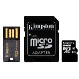 金士顿(Kingston)64GB 80MB/s TF(Micro SD)Class10 UHS-I高速存储卡  读卡器 适配器 超值套件