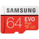 三星(SAMSUNG)存储卡64GB 读速100MB/s 4K Class10 高速TF卡(Micro SD卡)红色plus升级版