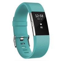 Fitbit Charge 2智能時尚心率手環 心率實時監測 自動睡眠記錄 來電顯示 VO2Max測量 藍青色大號