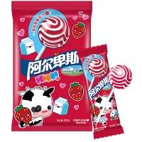 阿尔卑斯草莓牛奶味硬糖棒棒糖(20支装)200克牛奶糖 儿童用糖休闲零食