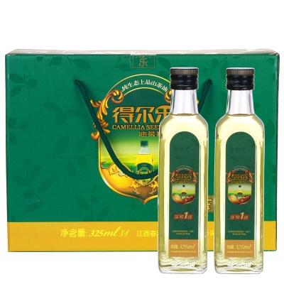 得尔乐山茶油 油茶籽油 压榨一级食用油325ml*4有机礼盒