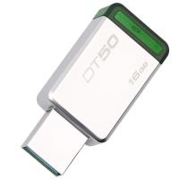 金士顿(Kingston)USB3.1 16GB 金属U盘 DT50 高速车载U盘 绿色
