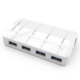 睿因(Wavlink) WL-UH3043 超高速4口USB3.0 HUB USB集线器 分线器排插 1拖4 带电源 支持快速充电