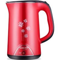 格来德(Grelide)电热水壶 304不锈钢烧水壶 PTC保温双层防烫 D1808BK 1.7L容量电水壶(红色)