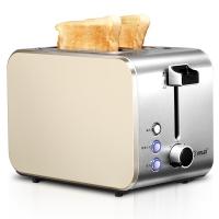 东菱(Donlim)面包机 多士炉家用烤面包机2片宽槽早餐机不锈钢机身 DL-8117C(金色)