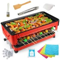 克来比(KLEBY)电烧烤炉 家用无烟电烤炉韩式电烤盘 双层带4手盘可升降调节 KLB9053
