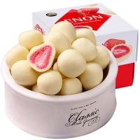 怡浓(ENON)纯脂草莓夹心白巧克力零食节日礼物礼盒送女友120g