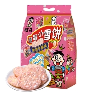 旺旺 旺仔小雪饼 膨化 休闲零食香脆米饼 饼干糕点 酸甜草莓味 135g(27gX5)