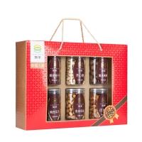 如水 坚果礼盒 蜜饯干果零食6罐装 幸福人家划算大礼包1350g/盒