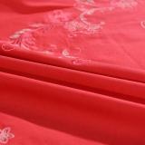 富安娜出品馨而乐家纺 全棉婚庆套件1.8m床双人床单被罩纯棉斜纹绣花四件套 1.8米床(被套230*229cm)红