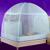 九洲鹿 升级版三开门玻璃纤维蕾丝花边蒙古包蚊帐 可挂风扇 14水兰 1.5米床