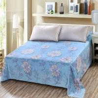 艾薇 床单家纺 纯棉被单 双人加大柔软全棉床单 单件 欢乐颂蓝 1.5/1.8米床 230*250cm