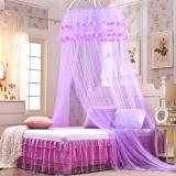 迎馨 床品家纺 宫廷式圆顶吊顶蚊帐 落地式双人蕾丝公主风格 适用1.5/1.8米床 紫色