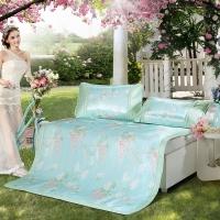 水星家纺 冰丝席子可折叠凉席三件套防滑绑带 空调印花席 威尼斯花园薄荷芳香冰丝席 加大双人1.8米床