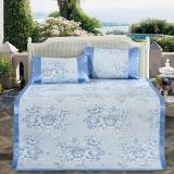 多喜爱(Dohia)凉席 新品提花空调冰丝席 三件套折叠双人席子 春风雅兰蓝 1.5米床 150*200cm