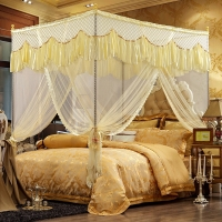 迎馨 床品家纺 蕾丝宫廷式三开门蚊帐 加粗加高不锈钢支架 1.5米床米黄色
