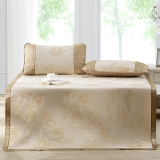 多喜爱(Dohia)凉席 冰丝空调凉席 两件套折叠席子 花团锦簇 金色 1.2米床 120*195cm