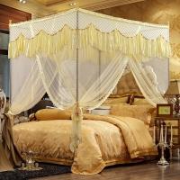 迎馨 床品家纺 蕾丝宫廷式三开门蚊帐 加粗加高不锈钢支架 1.8米床米黄色