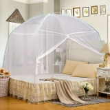 迎馨 床品家纺 加密帐纱 有底拉链式蒙古包可折叠蚊帐 单人1米床 白色
