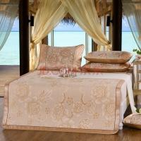 南极人 凉席家纺 印花冰丝席凉席三件套 加宽可折叠席子 牡丹-金 1.5米床