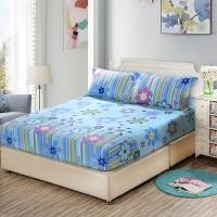 艾薇 床垫套保护罩双人40支纯棉斜纹防滑床笠1.5米床 万象更新蓝 150*200CM