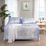 博洋家纺 床上用品 夏季品 双人加大可折叠空调席 春色馨晴爽滑加厚冰丝席三件套 1.8m
