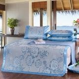 南極人 涼席家紡 印花冰絲席涼席三件套 加寬可折疊席子 牡丹-藍 1.8米床