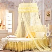 迎馨 床品家纺 宫廷式圆顶吊顶蚊帐 落地式双人蕾丝公主风格 适用1.5/1.8米床 米黄色